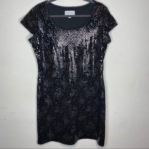 Ronnie Nicole Sequin Black Dress Sz 14